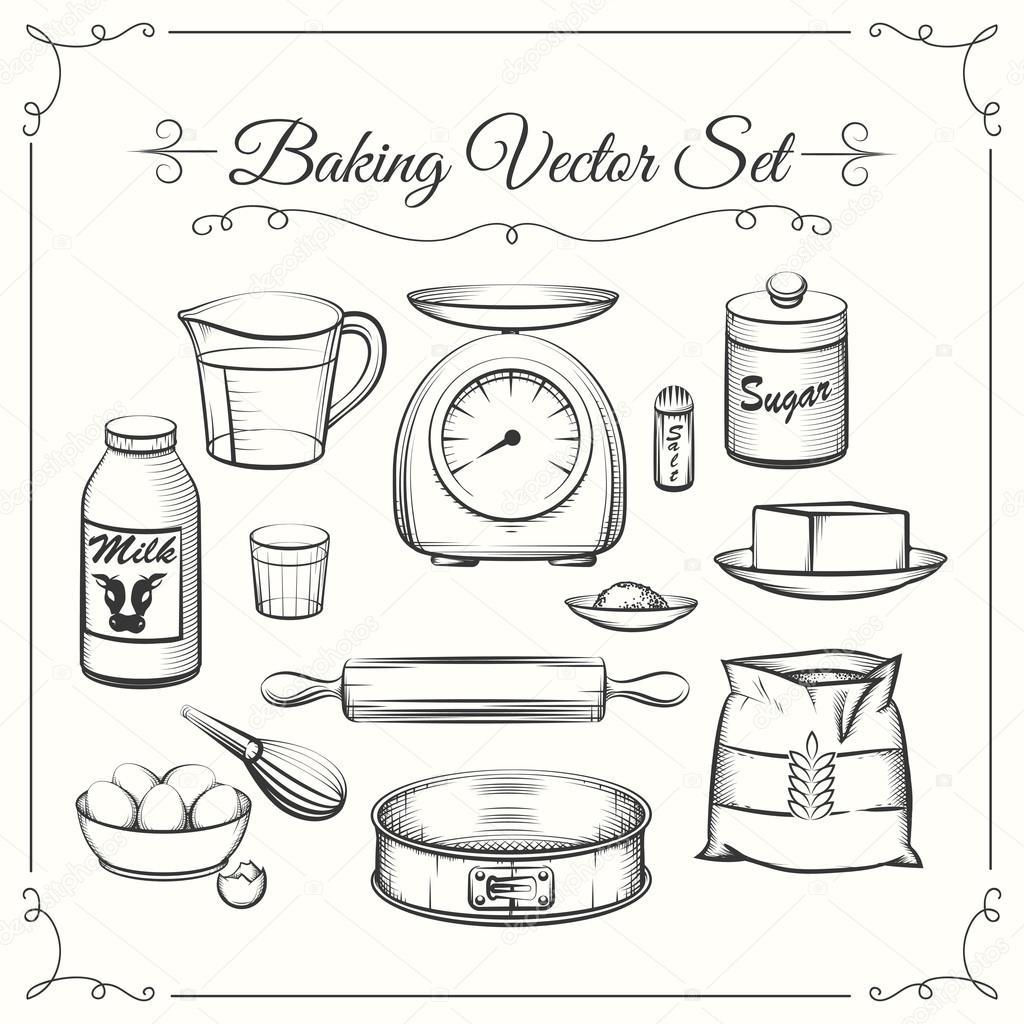 Essen Backzutaten Und Kuchenutensilien In Der Hand Gezeichnet Vektor