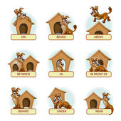 Fotografie Cartoon dog in different poses to illustrate English prepositions of place. Vector illustration for preschool kids