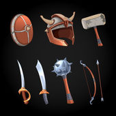 Photo Cartoon fantasy weapons vector icons set