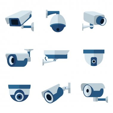 Security camera, CCTV vector flat icons set