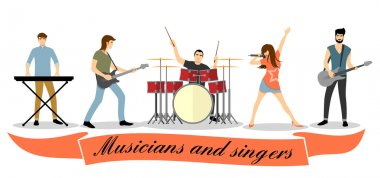 Musicians and singers vector set. Rock band illustration