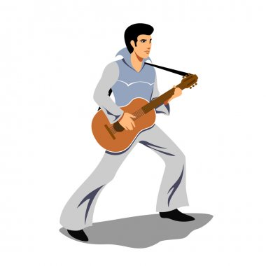 Musician artist like Elvis Presley with a guitar. Vector illustration