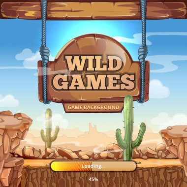 Loading screen with title for a Wild West game
