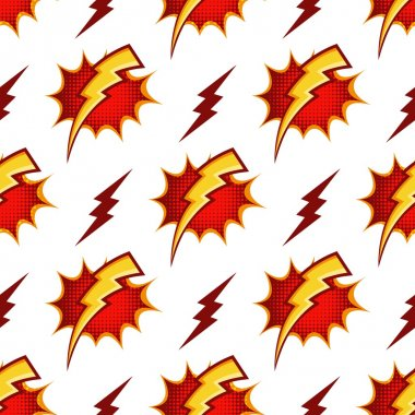 Lightning bolts vector seamless pattern in retro 80s cartoon style