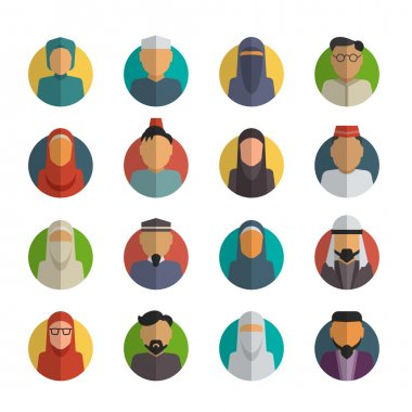 Middle eastern people flat icons set. Muslim male and female faces avatars vector collection