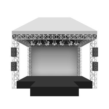 Podium concert stage. Vector illustration