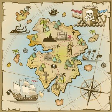Pirate treasure island vector map