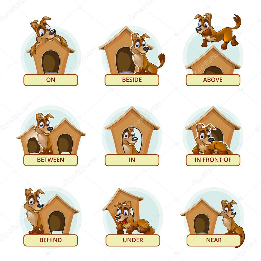 Preposition In Learn In Marathi All Complate: Cartoon Dog In Different Poses To Illustrate English