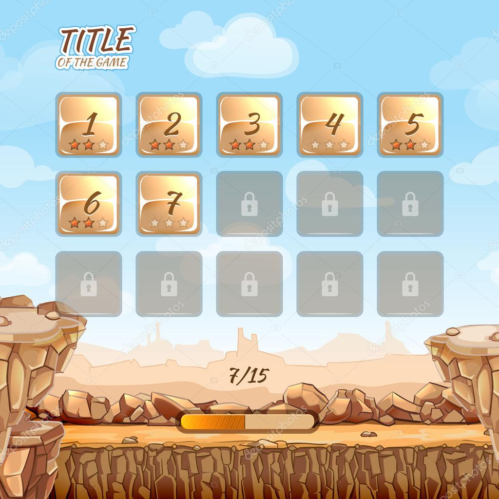 Stone and rocks desert game background with user interface UI in cartoon style