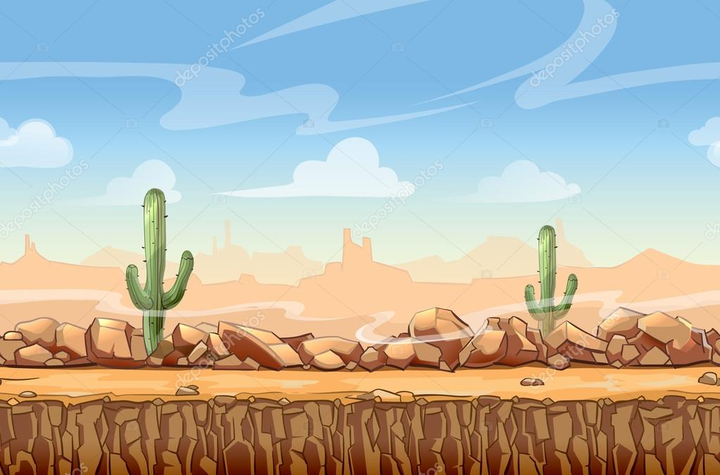 Wild West desert landscape cartoon seamless background for game