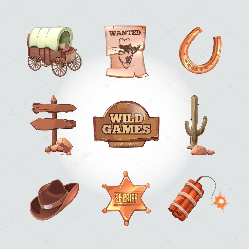 78d8aa8fb94 Icons for Wild West computer game. Cowboy objects cartoon design style.  Western american art