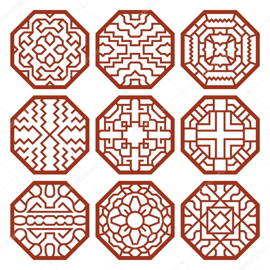 Korean traditional vector patterns, ornaments and symbols