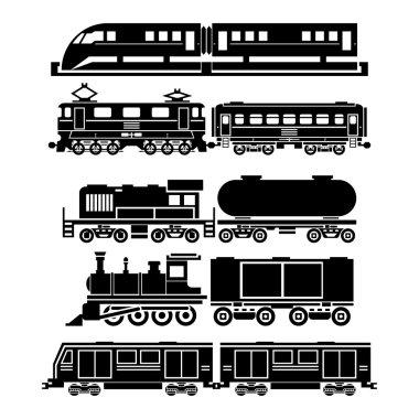 Train, sky train, subway vector icons set. Passenger and public transport symbols