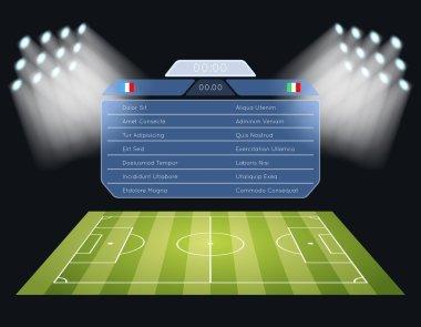 Floodlighting soccer field with scoreboard
