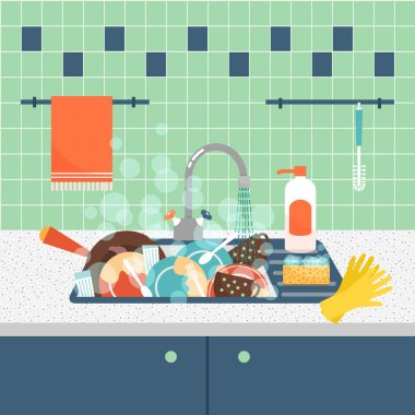 Kitchen sink with dirty kitchenware and dishes. Vector illustration