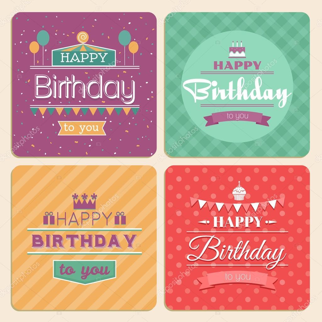 Happy birthday vector card set in retro design style vetores de happy birthday card set retro design style invitation vintage greeting banner ribbon and celebration vector illustration vetor de mssa stopboris Gallery