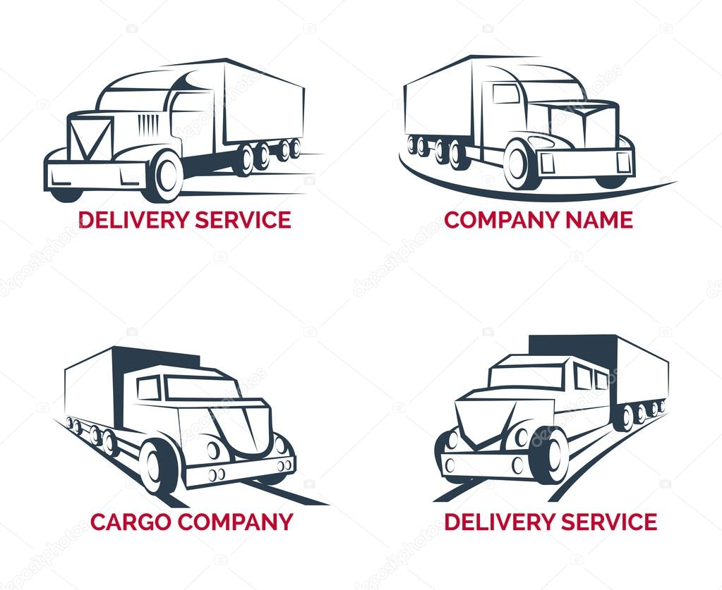 cargo truck and delivery service logo vector templates set stock