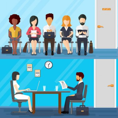 Business people waiting for job interview. Vector recruitment concept in flat design style