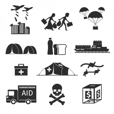 Refugees evacuee concept. War victims black icons set