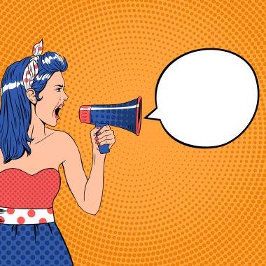 Pop art girl with megaphone and speech bubble. Loud and communication, announce shouting, retro announcement speaker, message voice, vector ilustration clip art vector