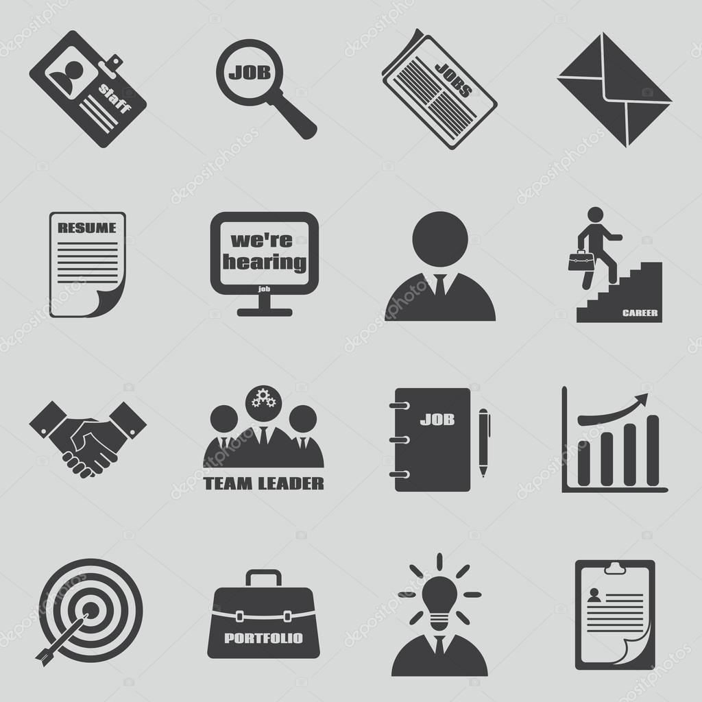 job icons vector set human resources and employment symbols stock