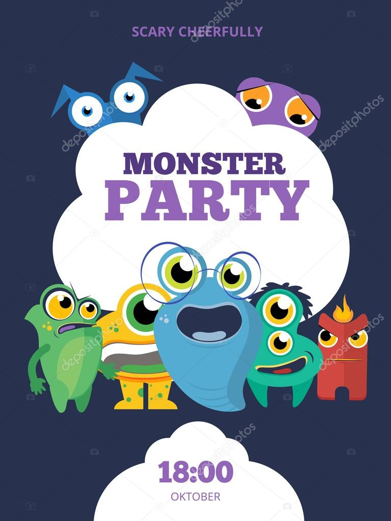 Monster party vector invitation card poster background template monster party vector invitation card poster background template design vetor de stock stopboris Images
