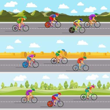 Racing bicyclists on bikes. Seamless panoramic backgrounds set