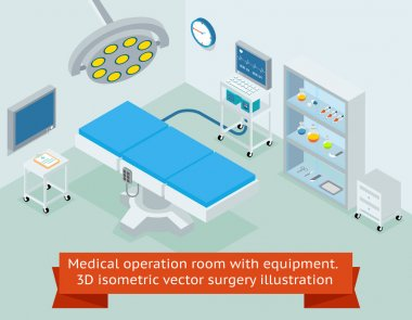 Medical operation room with equipment. Hospital and medicine, clinic surgical operating. 3D isometric vector surgery illustration stock vector