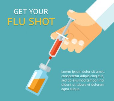 Get your flu shot. Doctor hand with syringe