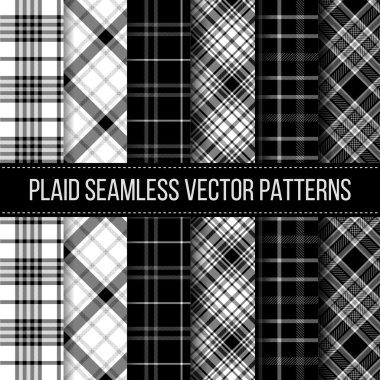 Black and White plaid, buffalo check, gingham seamless patterns set