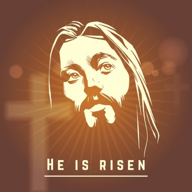 Face of Jesus with He is risen text. Easter christian vector illustration