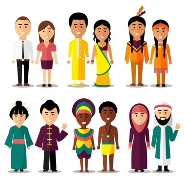 National couples characters in cartoon style. Indians and arab, hindus and japanese, american or european people. Vector illustration stock vector