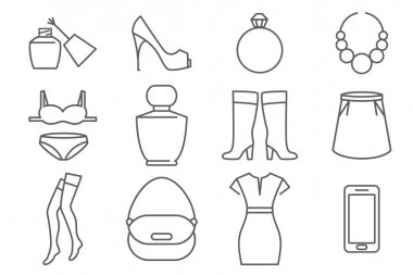 Womens accessories and clothes line icons set