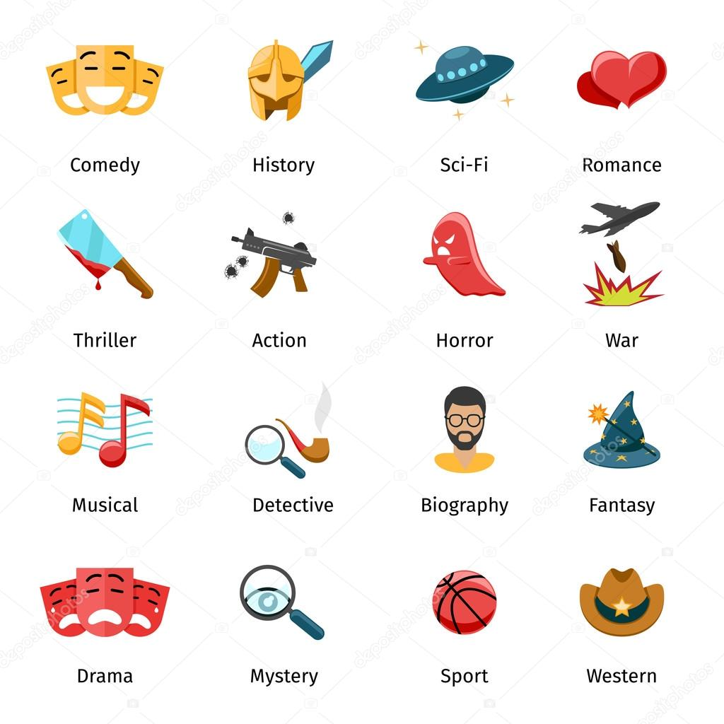 Flat movie genres vector icons