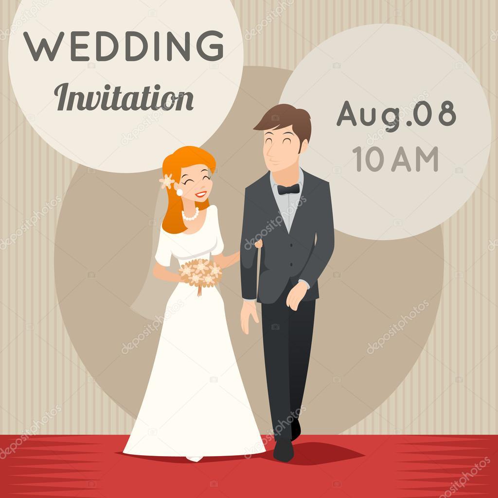 Bride and groom vector template wedding invitation vetores de vector template wedding invitation vetores de stock stopboris Images