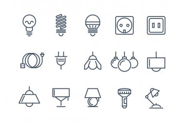 Lamp and bulbs line vector icons set. Electrical symbols