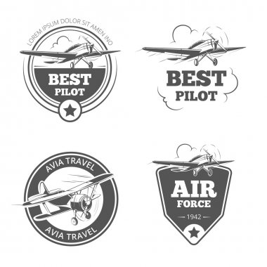 Vintage biplane and monoplane emblems vector set. Airplane  aircraft logos