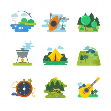 Nature, outdoor and forest activites. Vector flat icons set