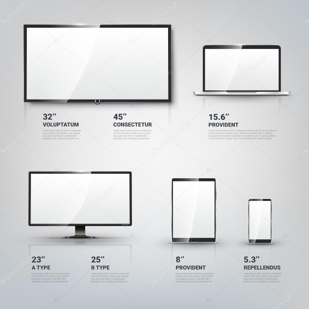 TV-Bildschirm, LCD-Monitor, Notebook, Tablet-Computer, Handy ...