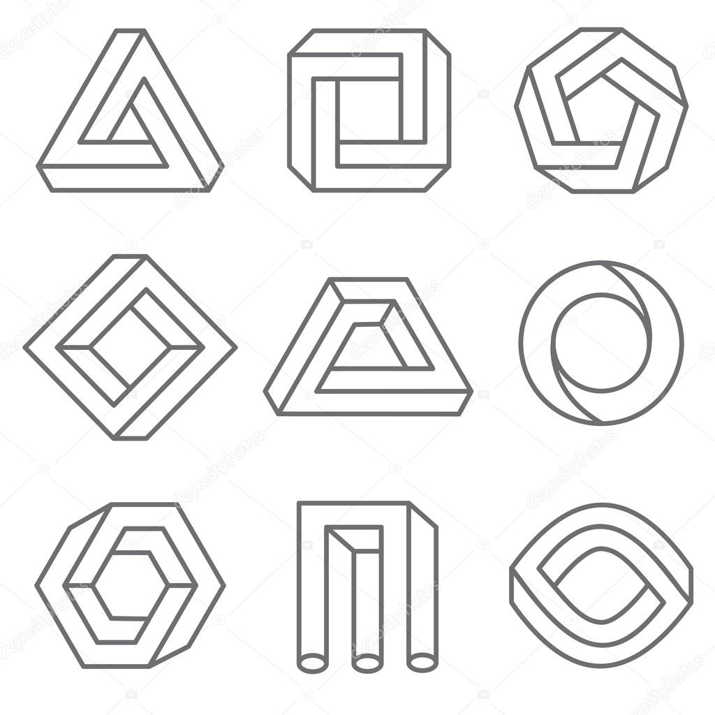 Impossible geometric shapes in linear outline style - Figuras geometricas imposibles ...