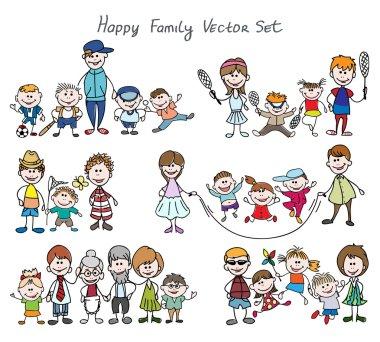 Doodle happy family sketch