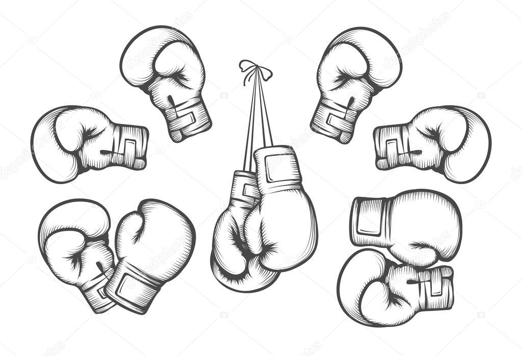 Guantoni da boxe vettoriale vettoriali stock mssa 96607052 - Dessin gant de boxe ...