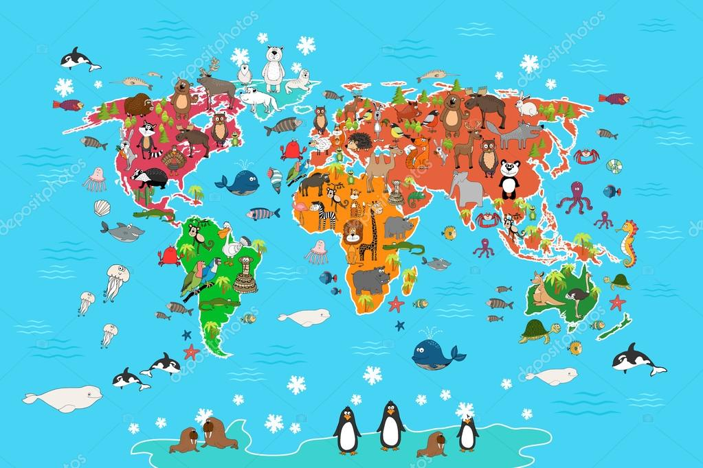 World map with animals vector illustration in cartoon style world map with animals vector illustration in cartoon style vector de stock gumiabroncs Choice Image