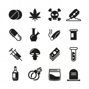 Drugs black vector icons set