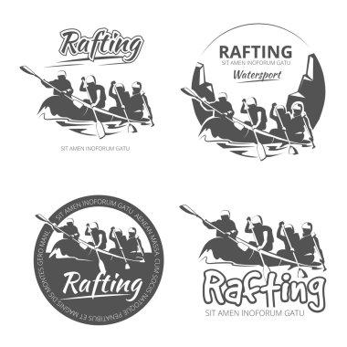 Vintage rafting, canoe and kayak vector labels, emblems badges set
