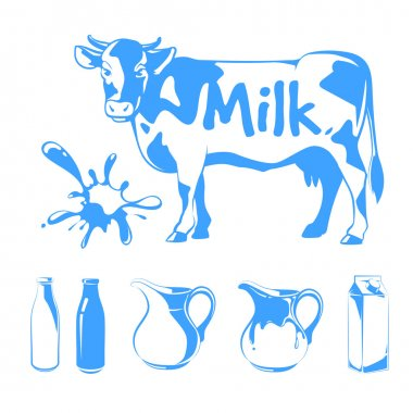 Vector elements for milk logos, labels and emblems