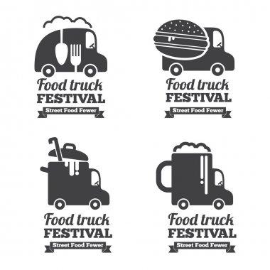 Vector food truck logos, emblems and badges