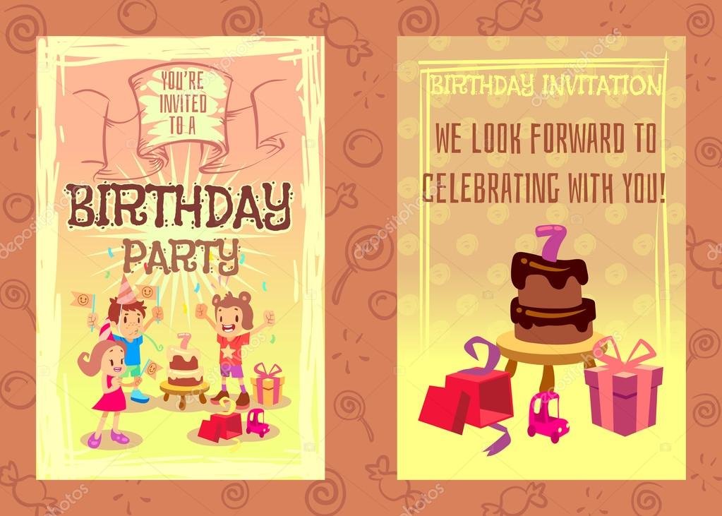 Bday Party Invitation Text Birthday Party Invitation Card Vector