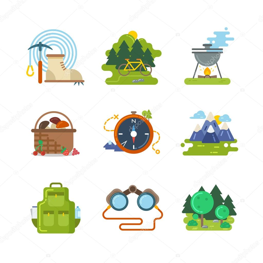 Flat camping outdoor vector icons