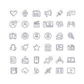 Social media, network line vector icons set